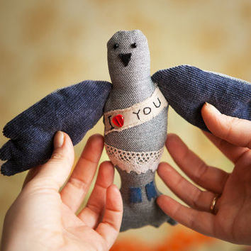 "Postal pigeon with the Love message ' I love you"", soft  art toy by Wassupbrothers"