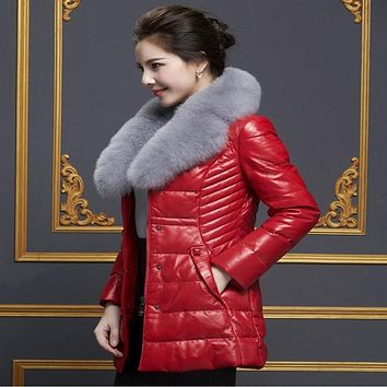 Women's Fur Collar Genuine Leather Down Coat Fox Fur Medium-long Outerwear Disassemblability Fur Women's Fur Collar