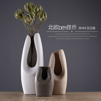 Chocolate color ceramic creative concise abstract flower vase pot home decor