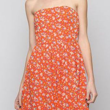 Home Grown Floral Print Straples Strapless Skater Dress in Orange Blossom | Sincerely Sweet Boutique
