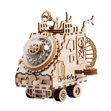 Robotime 3D Puzzle DIY With Movement Assembled Model Wooden for Children Music Box Spaceship AM681---NEW!!!