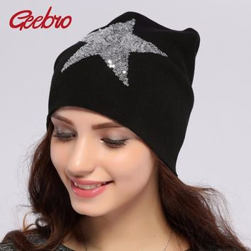 Geebro Women's Beanie Hat Casual Solid Star Knitted Hat Autumn Cotton Warm Beanies For Girls Sequins Cap Balaclava Hats JS259A