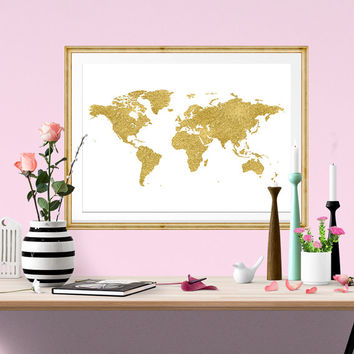 World Map Watercolor Print, Gold Foil, instant download, Watercolor poster, digital poster, affiche, world map, Fower Design, home Decor