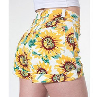 New Sexy Vintage Womens Girls Sunflower Slim High Waist Crimping Short Hot Pants
