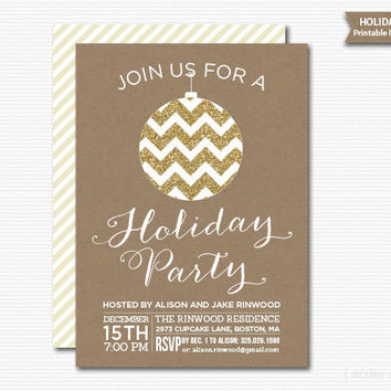 Holiday Party Printable Invitation Digital Invite Christmas Party Gold Glitter Rustic Kraft DIY Modern
