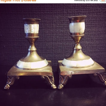 5 DAY SALE (Ending Soon) Vintage Mother of Pearl and Brass Candleholders - Abalone Shell - Brass Candlesticks