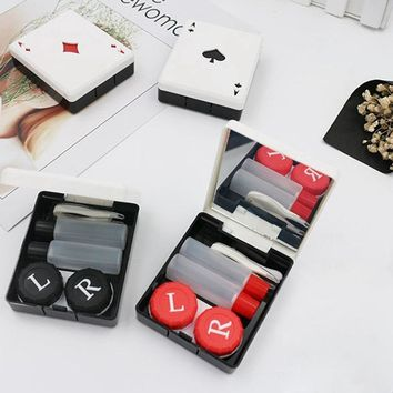 Cute Poker Card Clubs Hearts Contact Lens Case For Lenses Container Box For Glasses Pocket Health Contact Lens