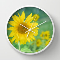 Sunflowers. Vintage dreams Wall Clock by Guido Montañés