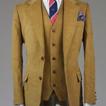 Cordifornia Handmade Slim Fit 3 Piece Suit CAMEL All Sizes Monkey Suits