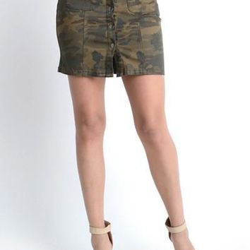 Camo Camouflage Pattern Button Front Skirt