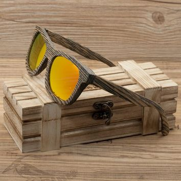 BOBO BIRD Stripe Men's Wood Sunglasses Women Polarized Sun Glasses with Wooden Gift Box Steampunk C-AG016