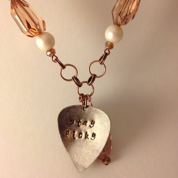 "Hand stamped metal guitar pick ""stay picky"" musician necklace guitarist"