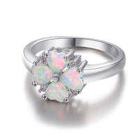 Adorable Heart Stones With Sterling Silver 925 Opal Ring.