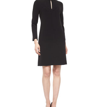 Long-Sleeve Shift Dress, Black, Size: