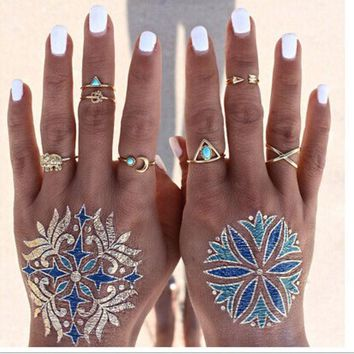 LMFU3C 7PCS Vintage Beach Punk Elephant Moon Arrow Ring Set Ethnic Carved Antique Silver Plated Snake Finger Ring Knuckle Charm 3375