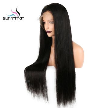 Sunnymay 130 Density Lace Front Human Hair Wigs Pre Pluck Bleached Knots long Straight Remy Brazilian Hair Wigs For Black Women