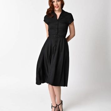 Unique Vintage 1950s Style Black Alexis Short Sleeve Swing Dress