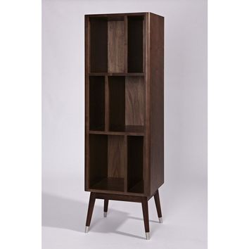Modern Walnut Vertical Milla Cabinet with Modern Post Slanted Legs