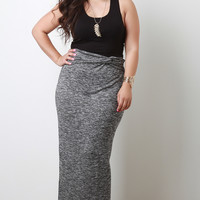 Plus Size Melange Knit Maxi Skirt