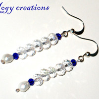 White blue glass crystal drop silver earrings jewelry gift
