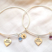 Alex and Ani Style Best Friend Bracelets -- Sterling Silver, Personalized, Heart, Birthstone, Initial, Best Friend Jewelry -- MADE TO ORDER