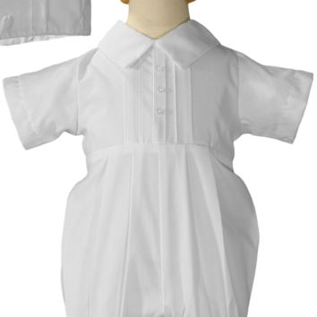 Pin Tucked Poly Cotton Handmade Christening Romper Outfit (Baby Boys 0 - 12 months)