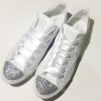Monochrome All White Bride Rhinestone Converse Custom Shoes Confirmation Prom Bat Mitzvah Quince