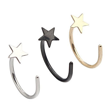 Ruifan 20G 8mm Unisex Pack Assorted Stainless Steel Star Nose Stud Nose Hoop Earring Ring Body Jewelry Piercing 3PCS