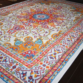 Generations pre8023White_2x4 Oriental Traditional Isfahan Persian Area Rug, 2' x 3', Light Blue/Navy/White/Orange/Yellow/Crimson Red