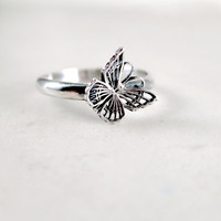 Sterling Silver Butterfly ring, stacking, oxidized