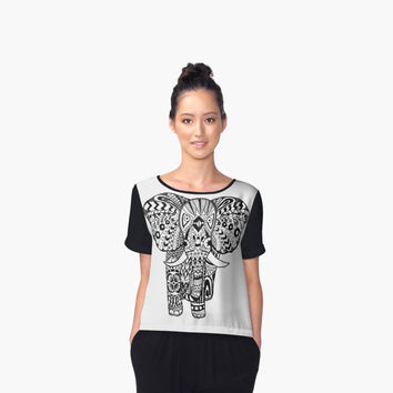 'Aztec Elephant' Women's Chiffon Top by Deztiny Di Meo