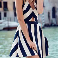 Stripe V-Neck Cut-Out Skater Dress