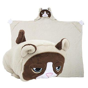 Comfy Critters Stuffed Animal Blanket–Grumpy Cat–Kids huggable pillow & blanket