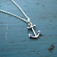 Sterling Silver Anchor Necklace Bridesmaid Jewelry Nautical Theme Tiny Anchor Best Friends Gift Sorority Gift Beach Wedding