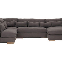Carrell 4-Pc Linen Sectional, Charcoal, Sectionals