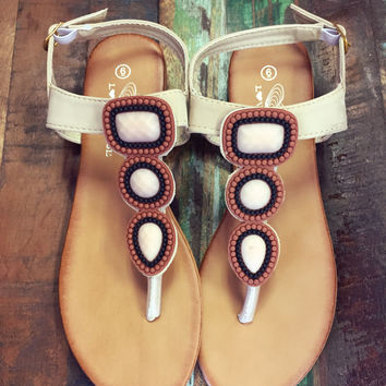 Meet Me In Tahiti Sandals - Beige