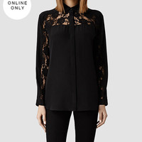 Womens Boo Lace Shirt (Black) | ALLSAINTS.com