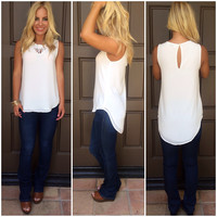 Tara Cutout Sleeveless Blouse - WHITE