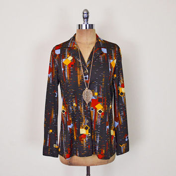 Vintage 70s Brown Abstract Print Disco Shirt Blouse Top Disco Collar Polyester Shirt Button Up Button Down 70s Shirt Hippie Shirt Hippy M L