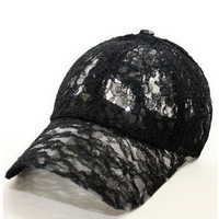 Free Shipping 2016 New Fashion Summer Adjustable Women's Lace Floral Baseball Caps For Girls