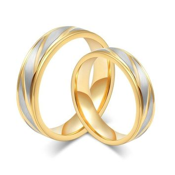New Fashion Wedding Bands Women Men Couples Ring Fashion Luxury Gold Plated Rings Stainless Steel Jewelry Loves Ring Engagement