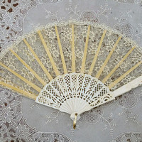 Vintage White Lace Hand Fan Flamenco Dance Fan