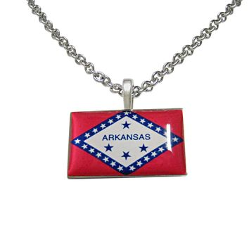 Arkansas State Flag Pendant Necklace