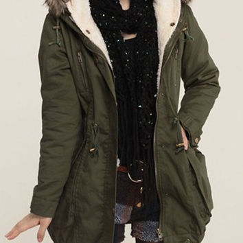 Army Green Faux Fur Hood Multi-Pocket Coat