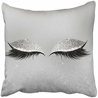 Emvency Square 16x16 Inches Decorative Pillowcases eye silver gray glitter black glam makeup eyes beauty lumbar pillow Cotton Polyester Decor Throw Pillow Cover With Hidden Zipper For Bedroom Sofa