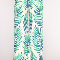 Paradise Lover Tropical Pants - Ivory/Green