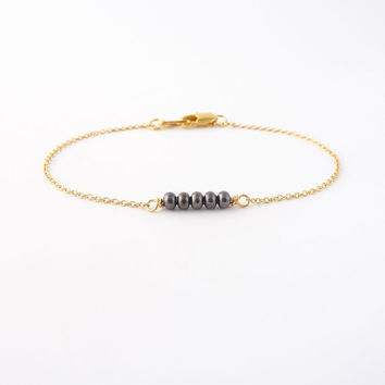 Tiny Gold Beaded Bracelet Gunmetal Thin Chain Dainty Layering