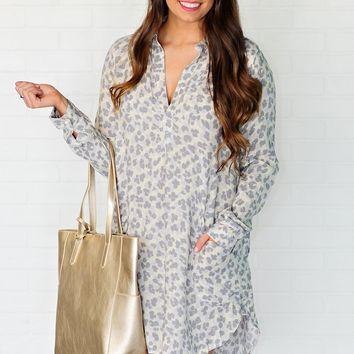 * Wild About You Leopard Print Tunic : Grey