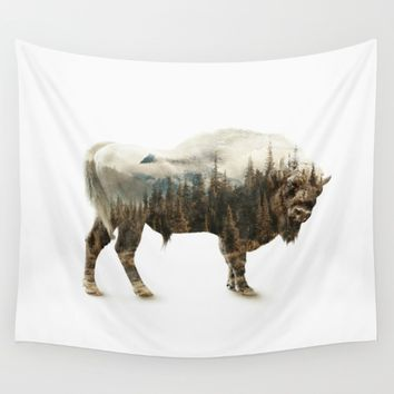 Bison Wall Tapestry by RIZA PEKER