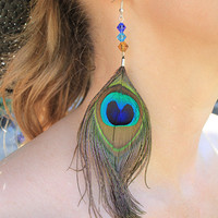 Sapphire Blue and Turquoise Peacock Feather Earrings with Gorgeous Glass Bicone Beads